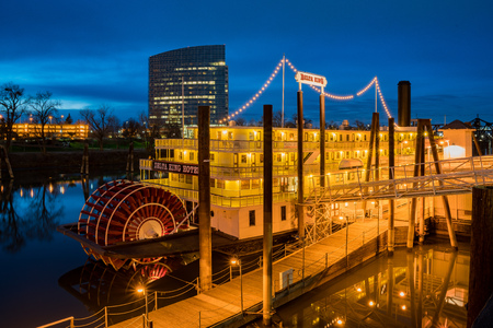 Sacramento, FEB 20: Night view of the famous Delta King on FEB 20, 2018 at Sacramento, California Editorial