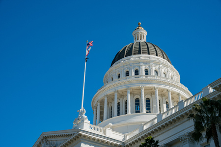 Afternoon exterior view of the historical California State Capitol  at Sacramento, California