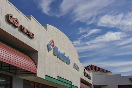 Los Angeles, MAR 8: Exterior view of the Dominos pizza sign on MAR 8, 2018 at Los Angeles