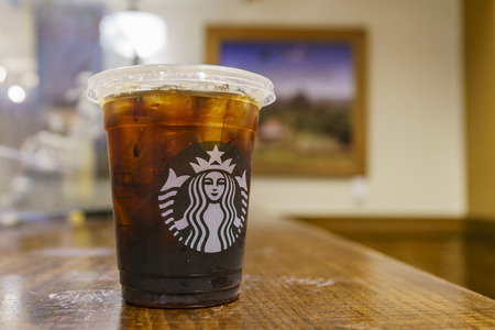Los Angeles, MAR 3: Close up shot of a cup of Starbucks ice coffee on MAR 3, 2018 at Los Angeles