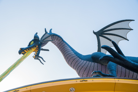 Los Angeles, FEB 18: Big blue dragon of the famous Lego store on FEB 18, 2018 at Los Angeles