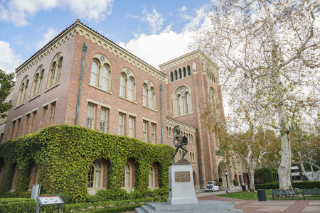 Los Angeles, MAR 16: Exterior view of the beautiful Tommy Trojan and Bovard Aministration buiding in USC on MAR 16, 2018 at Los Angeles, California