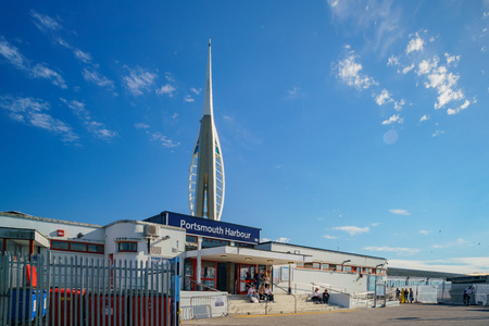 Portsmouth, JUL 8: Exterior view of the Portsmouth Harbour on JUL 8, 2017 at Portsmouth, United Kingdom Editorial