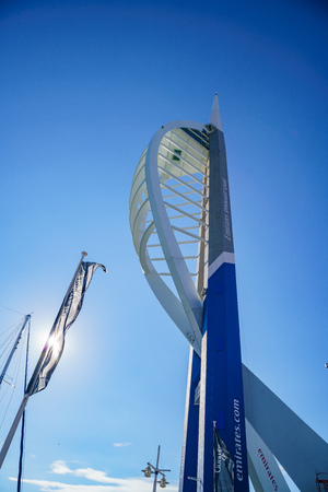 Portsmouth, JUL 8: Exterior view of the Spinnaker Tower on JUL 8, 2017 at Portsmouth, United Kingdom