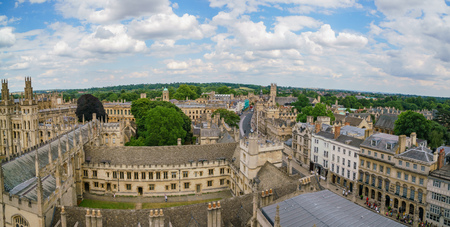 Aerial view of the Oxford cityscape from the top of University Church of St Mary the Virgin at United Kingdom Editorial