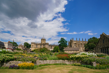 Beautiful garden near the famous Christ Church Cathedral at Oxford, United Kingdom Stock Photo