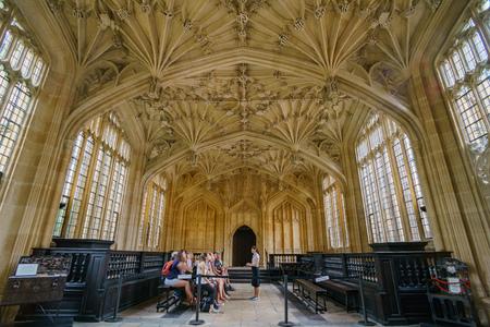 Oxford, JUL 9: Interior view of the Divinity School on JUL 9, 2017 at Oxford, United Kingdom Editorial