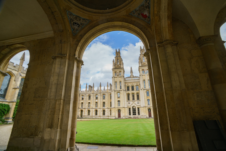 Exterior view of the All Souls College at Oxford, United Kingdom Editorial