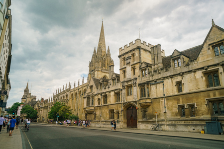 Oxford, JUL 9: Exterior view of the University Church of St Mary the Virgin on JUL 9, 2017 at Oxford, United Kingdom
