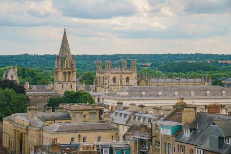 Aerial view of the Christ Church Cathedral and Oxford cityscape from the top of University Church of St Mary the Virgin at United Kingdom