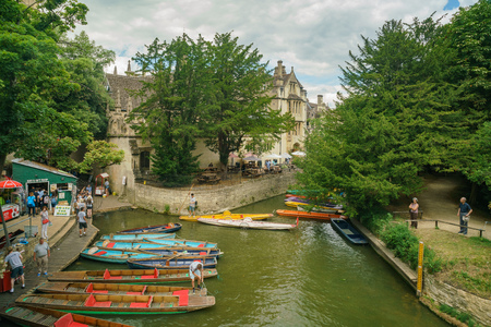 Oxford, JUL 9: Punting in the Oxford University on JUL 9, 2017 at Oxford, United Kingdom