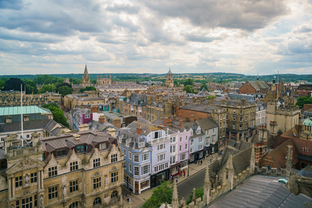 Aerial view of the Oxford cityscape from the top of University Church of St Mary the Virgin at United Kingdom