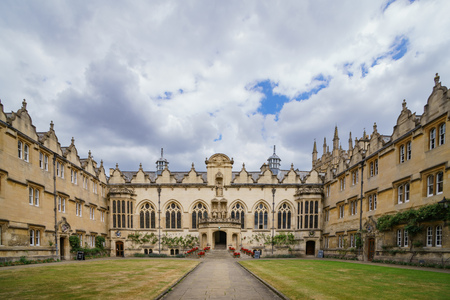The historical and beautiful building of the Oriel College at Oxford, United Kingdom Editorial