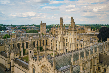 Aerial view of the All Souls College and Oxford cityscape from the top of University Church of St Mary the Virgin at United Kingdom