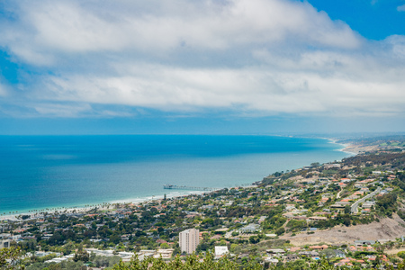 Aerial view of the  landscape and cityscape around La Jolla area from Mt. Soledad National Veterans Memorial, San Diego, California