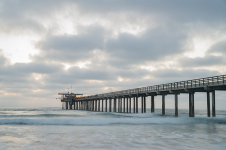 sunset view of the   Ellen Browning Scripps Memorial Pier at San Diego County, California