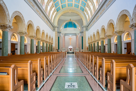 San Diego, JUN 27: Interior view of the Immaculata church of University of San Diego on JUN 27, 2018 at San Diego, California