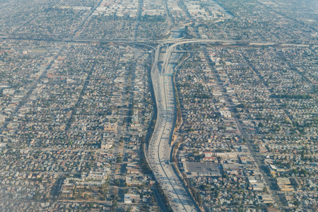 Aerial view of the intersection of Highway 110 and 105 at Los Angeles, California Stock Photo