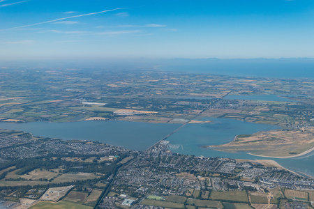 Aerial view of rural scene and Malahide city near Dublin Airport, Ireland