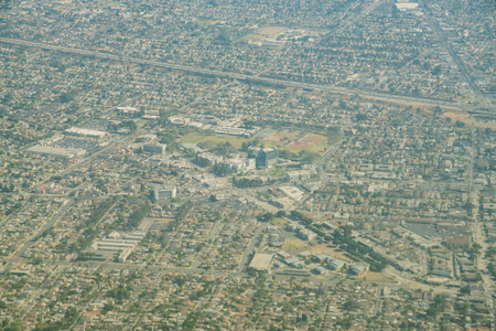 Aerial view of the St. Francis Medical Center, Lynwood Park at Los Angeles County, California