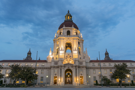Night view of the famous Pasadena City Hall at Los Angeles County, California