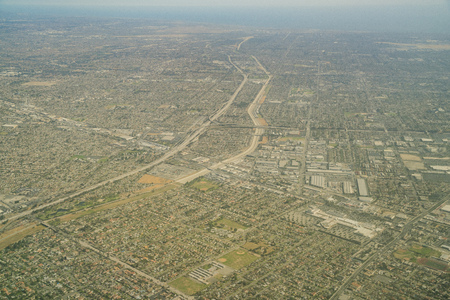 Aerial view of highway 105 and highway 605 intersection and San Gabriel river at Los Angeles County