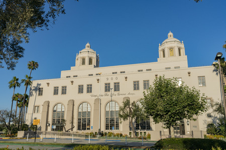 Los Angeles, JUL 12: Special building of the USPS in downtown on JUL 12, 2018 at Los Angeles, California Editorial