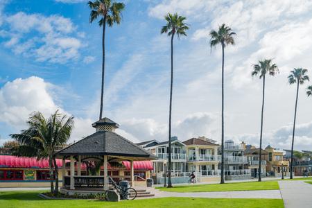 Newport Beach, MAR 24: Balboa Peninsula Park and palm tree on MAR 24, 2018 at Newport Beach, California
