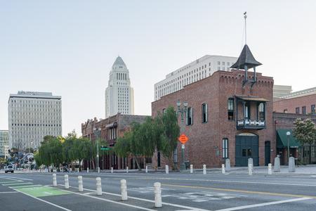 Los Angeles, JUL 12: City hall and Plaza Firehouse on JUL 12, 2018 at Los Angeles, California Stock Photo - 104987252