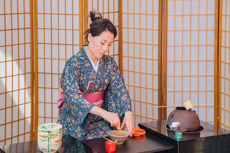 Los Angeles, APR 8: Japanese style tea ceremony performance on APR 8, 2018 at Los Angeles, California 에디토리얼