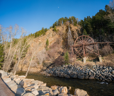 Charlie Tayler Water Wheel at Idaho Springs, Colorado Stock Photo