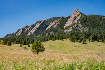 Schöne Landschaft von Flatirons bei Boulder, Colorado Standard-Bild