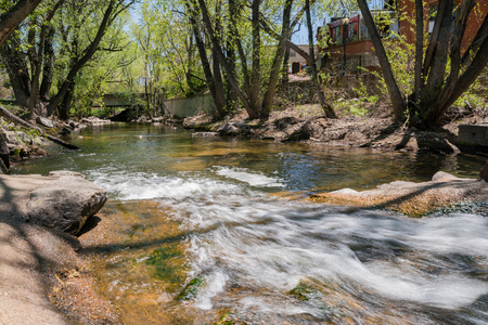 Super clean water of the Boulder Creek at Boulder, Colorado