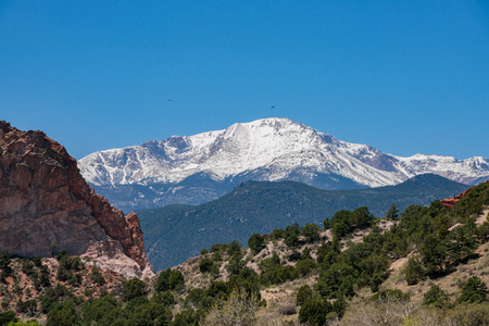 Gray Rock and snow mountain of the famous Garden of the Gods at Manitou Springs, Colorado