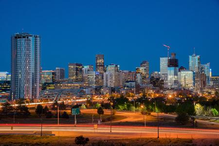 Night view of the Denver city skyline, Colorado