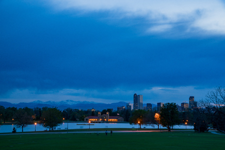 Night view of the downtown skyline from city park at Denver, Colorado