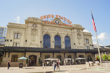 Denver, MAY 3: Exterior view of the historical Union Station on MAY 3, 2017 at Denver, Colorado
