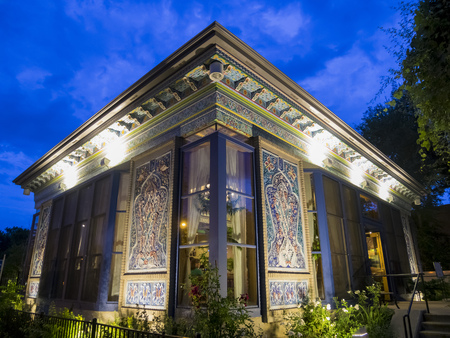 Boulder, AUG 9: Night view of The Boulder Dushanbe Teahouse on AUG 9, 2014 at Boulder, Colorado Editorial
