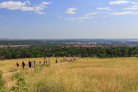 Boulder, AUG 9: People hiking in Flatirons on AUG 9, 2014 at Boulder, Colorado Editorial