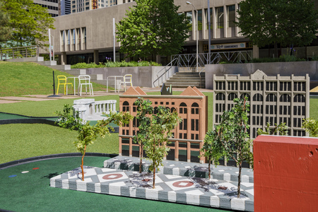 Denver, MAY 3: Mini golf in the Skyline Park on MAY 3, 2017 at Denver, Colorado