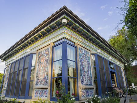 Boulder, AUG 9: Exterior view of The Boulder Dushanbe Teahouse on AUG 9, 2014 at Boulder, Colorado Stock Photo - 106042108