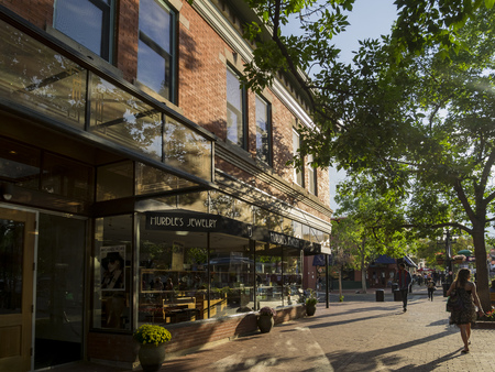 Boulder, AUG 9: Stores on Pearl Street on AUG 9, 2014 at Boulder, Colorado Editorial
