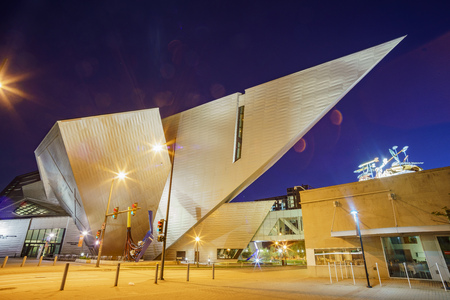 Denver, MAY 3: Night view of the Denver Art Museum on MAY 3, 2017 at Denver, Colorado