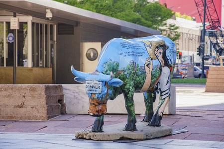 Denver, MAY 3: Interesting blue buffalo in downtown on MAY 3, 2017 at Denver, Colorado