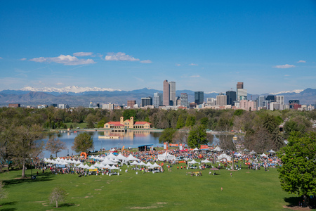 Denver, MAY 6: Aerial view of Walk MS 2017 Marathon on MAY 6, 2017 at Denver, Colorado