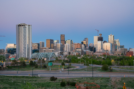 Denver, MAY 5: Night view of the city skyline on MAY 5, 2017 at Denver, Colorado