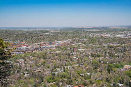 Aerial view of boulder downtown cityscape, Colorado