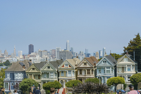 San Francisco, AUG 18: Afternoon view of the famous Painted Ladies with downtown building on AUG 18, 2018 at San Francisco, California Editorial