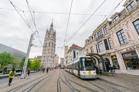 Ghent, APR 28: Het Belfort van Gent and street view on APR 28, 2018 at Ghent, Belgium Editorial