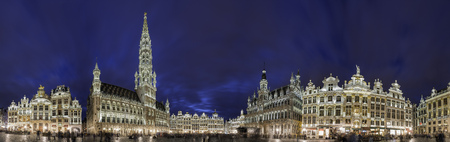 Brussels, APR 28: Night panorama view of the famous Grand Place on APR 28, 2018 at Brussels, Europe